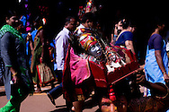 Indian teen seen in traditional outfit during Shivaratri festival in the street in Gokarna, Karnataka, India, on  April February 19, 2015. Hindus across the country celebrate Mahashivratri, better known as Lord Shiva's wedding anniversary. Lord Shiva is also known as Nataraja, the Lord of Dancers.<br /> Photo by Oren Nahshon