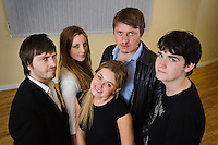 """Selected cast members of the stage play """"Stags & Hens' seen here in rehearsal. Pictured LtoR Tim Bettridge, Madison Coupland, Emily Potter, Andy Wilson, Seb Pryboda"""