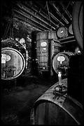 wine fermenting in barrels
