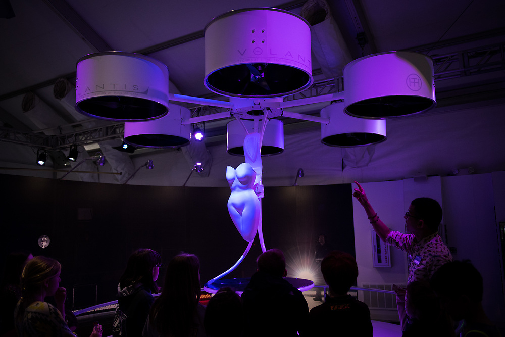 """30206010A - DRONES - Lady Gaga's Volantis drone sits on display at the """"Drones: Is the Sky the Limit?"""" exhibit at the Intrepid Sea, Air, and Space Museum in New York, NY on May 9, 2017."""