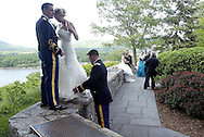 2nd. Lt. John Griffin IV and his bride Hayley Gabelein after their wedding ceremony at the United States Military Academy at West Point, NY on Sunday, June 1, 2008. 2nd. Lt. Griffin is a prior service Army enlisted man, having served in Afghanistan as a Army Ranger. The newlyweds from Seattle, WA had to wait 5 years to get married, as the USMA doesn't admit married cadets.