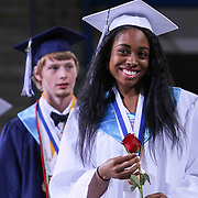Delcastle high school Valedictorian Amber Young partakes in an Academic Procession prior to commencement exercises Tuesday, May 26, 2015, at The Bob Carpenter Sports Convocation Center in Newark, Delaware