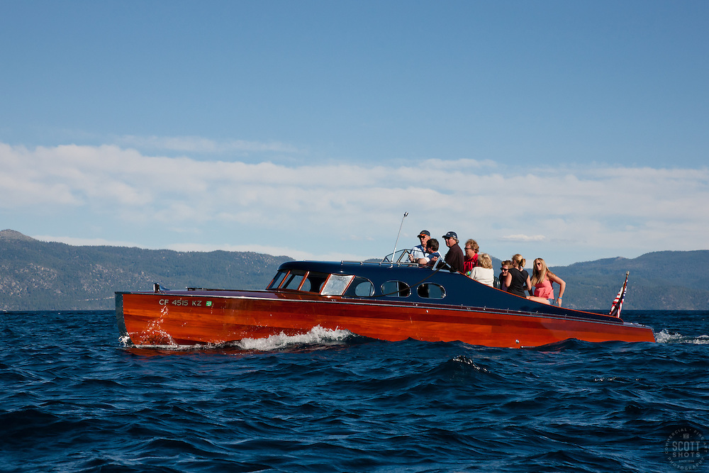 """""""Wooden Boat on Lake Tahoe 4"""" - This classic wooden boat was photographed on Lake Tahoe during the 2011 Concours d' Elegance."""