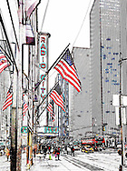 Street of Manhattan and American Flags.
