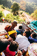 Open air truck to Kyaiktiyo Pagoda (Golden rock)). Mon State, Myanmar
