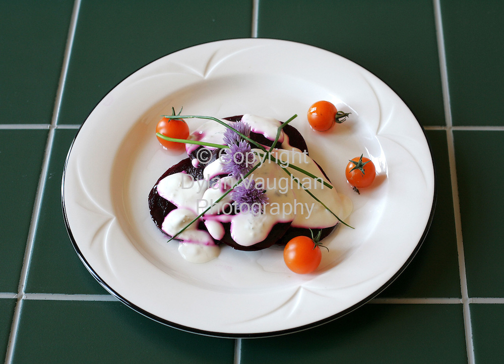 25/9/2004.Eugene McSweeny Food week 74 for Weekender.Starter Fresh beetroot with ceaser dressing..Picture Dylan Vaughan