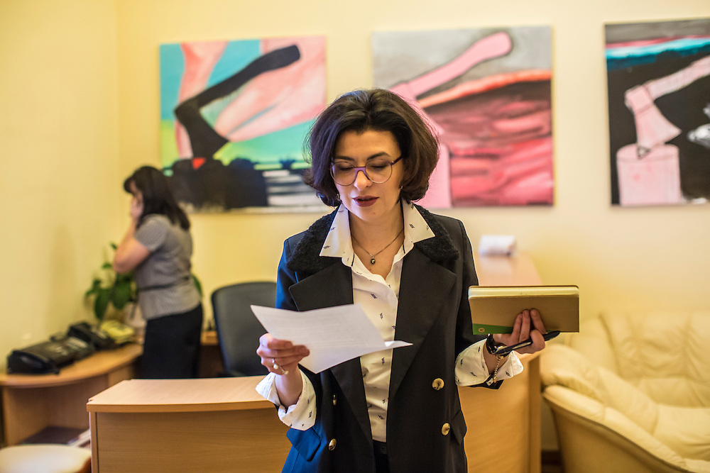 KIEV, UKRAINE - MARCH 4, 2016: Oksana Syroyid, deputy speaker of the Ukrainian parliament, reviews a document in her office between meetings in Kiev, Ukraine. Syroyid is one of parliament's main opponents of the constitutional reforms called for in the Minsk agreement intended to resolve fighting in eastern Ukraine. CREDIT: Brendan Hoffman for The New York Times
