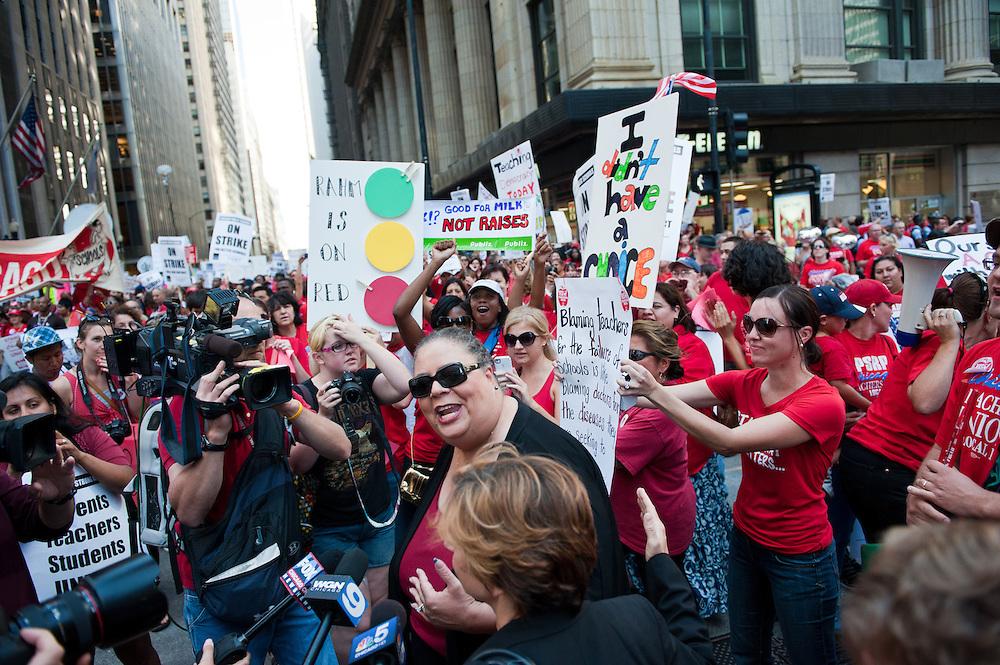 Chicago Teachers Union President Karen Lewis addresses the media outside CPS Headquarters on September 11, 2012.