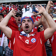 Chile fans cheer from the stands in the first half of a Copa America Centenario Group D match between the Chile and Panama Tuesday, June. 14, 2016 at Lincoln Financial Field in Philadelphia, PA.