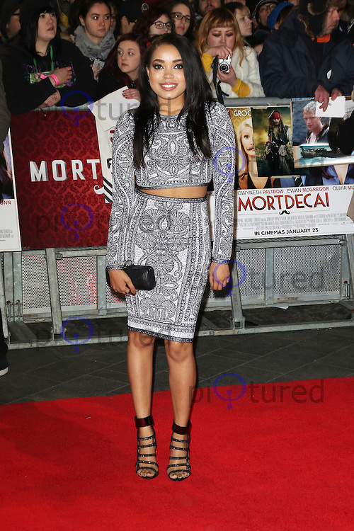 Dionne Bromfield, Mortdecai - UK film premiere, Leicester Square, London UK, 19 January 2015, Photo by Richard Goldschmidt