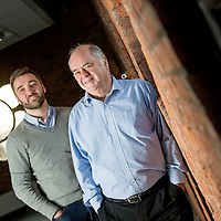 Ryan McCabe (L) Bill Scouller (R) founder of internet startup company Odro , pictured in the Glasgow office. Photo by (Ross Gilmore)