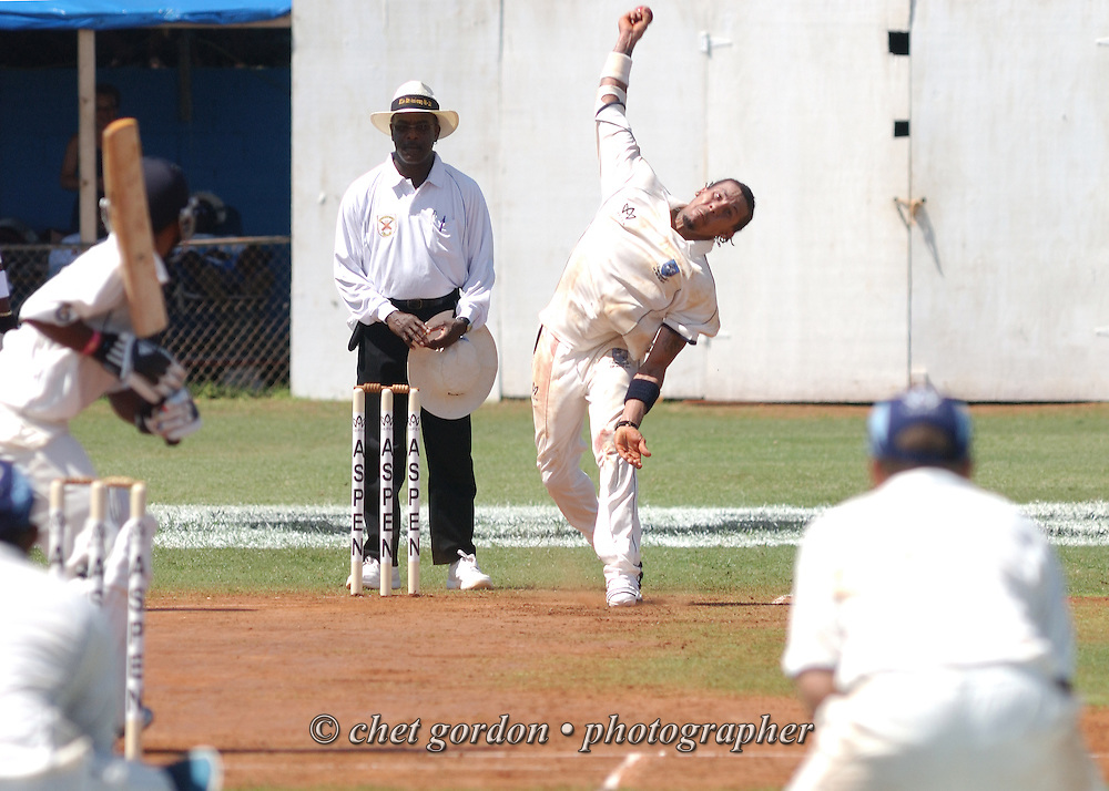 Bowler Justin Pitcher of the St. George's Cricket Club delivers a ball on his run up to a Somerset batsman during the first day of Cup Match at the St. George's Cricket Club in St. George's, Bermuda on Thursday, July 28, 2011. The 109th. Annual Cup Match takes place during the two day public holidays of Emancipation Day and Somers Day in Bermuda.