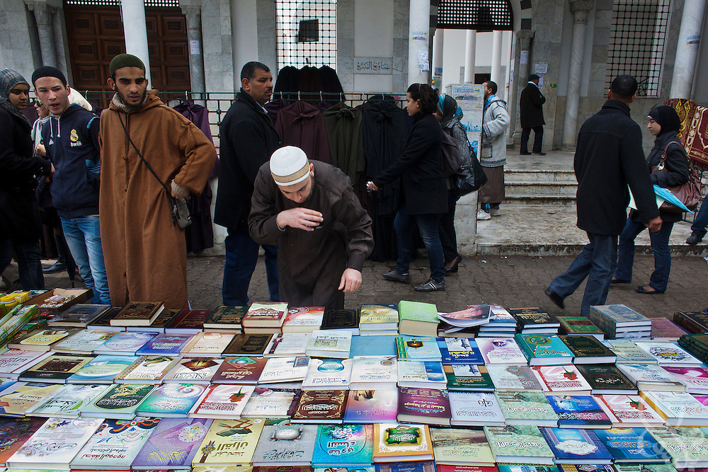 Salafists sell literature, and other Islamic products outside the al-Fateh mosque March 05, 2012. The non-salafist directors of the mosque say they are powerless to stop what has essentially been a takeover of the mosque and the area around it recently by salafists.