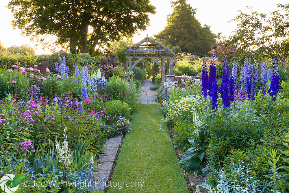 Shortly after dawn in the Sundial Garden at Wollerton Old Hall Garden, Shropshire - photographed in July