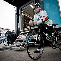 Mark Cavendish on his bike ready for a training ride