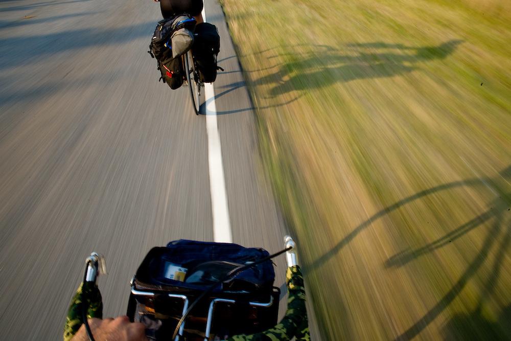 Ben Depp and Alexis Erkert cycling on Highway 135, North Carolina. 6/7/07 Photo by Ben Depp