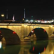 London Bridge reflection in the waterway of Lake Havaus City, Arizona.Lake Havasu City, Arizona.