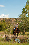 Competitive Trail Ride, 11 year old boy, Mantle Ranch, Three Forks, Montana, MODEL RELEASED