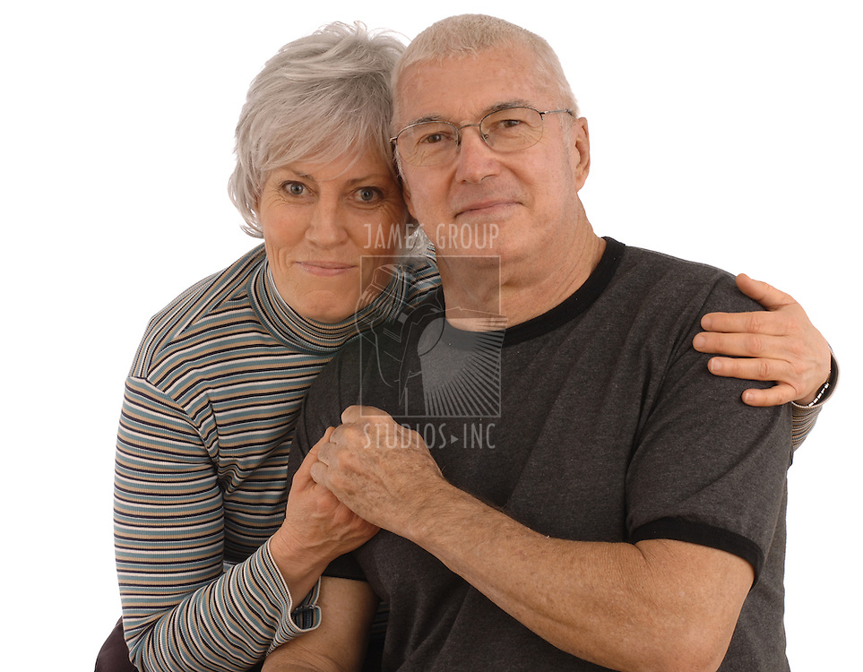 Senior husband and wife on a white background