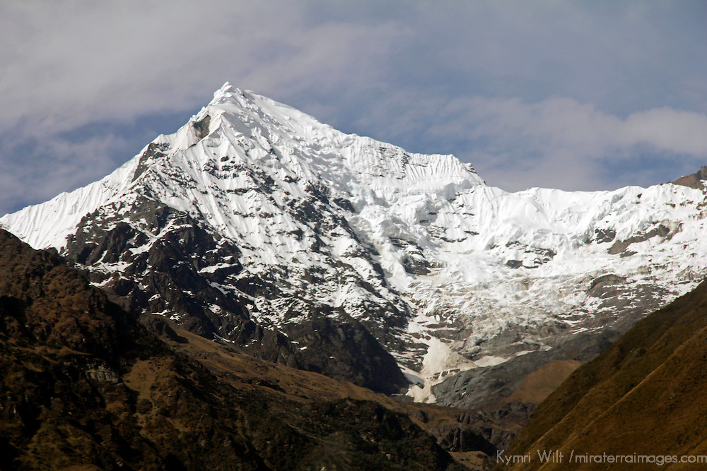 South America, Peru, Urubamba. Snowy peaks of the Andes Mountains.