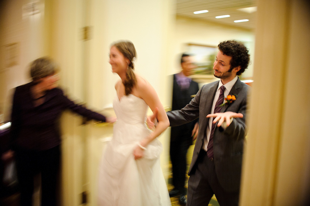 Photo by Matt Roth.Assignment ID: 30116265A..Brooklyn couple Jen Miller and Jason Feifer, both 31, are introduced after marrying at the Fairmont Hotel in Washington D.C. Saturday, October 29, 2011.