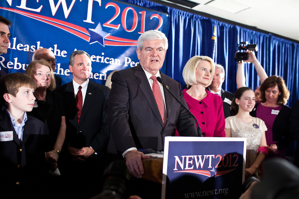 Republican presidential candidate Newt Gingrich holds his primary night rally on Saturday, January 21, 2012 in Columbia, SC.