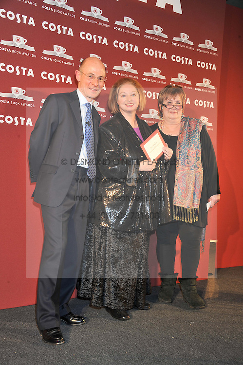 Left to right, CHRIS ROGERS, HILARY MANTEL and DAME JENNI MURRAY at the Costa Book Awards 2012 held at Quaglino's, 16 Bury Street, London SW1 on 29th January 2013.