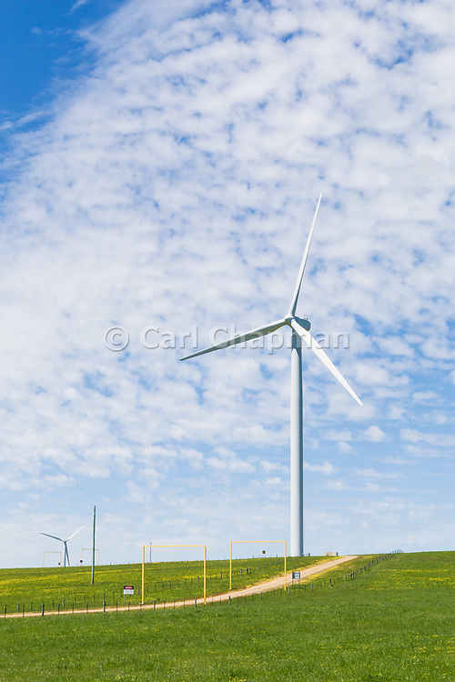 wind turbine from a wind farm in a rural paddock in the countryside near rural Glen Thompson, Victoria, Australia