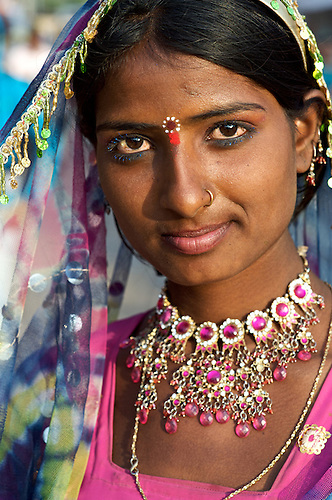 Happy Gypsy Indian Young Girl Using Laptop India Stock Photo ...