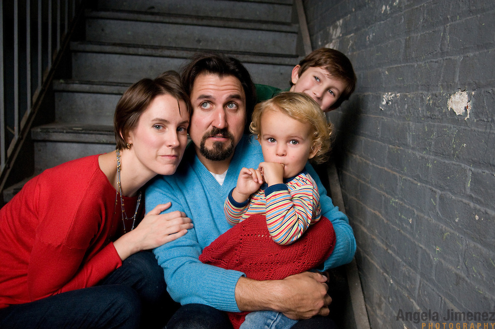 The Blezard family is photographed in a studio family portrait at the Brooklyn Arts Exchange for the annual holiday photo shoot fundraiser in Brooklyn, New York on November 20, 2011. ..Photo by Angela Jimenez .www.angelajimenezphotography.com