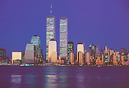Twin Towers of the World Trade Center, designed by Minoru Yamasaki, Hudson River, Manhattan, New York City, New York, USA, Twilight