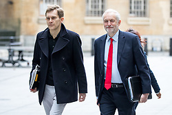 © Licensed to London News Pictures. 23/04/2017. London, UK. Seumus Milne (Strategy & communications director for Jeremy Corbyn) and Leader of the Labour Party Jeremy Corbyn arriving at BBC Broadcasting House to appear on The Andrew Marr Show this morning. Photo credit : Tom Nicholson/LNP