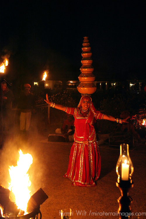 Asia, India, Jaipur. Balancing dance performance at Dera Amer.