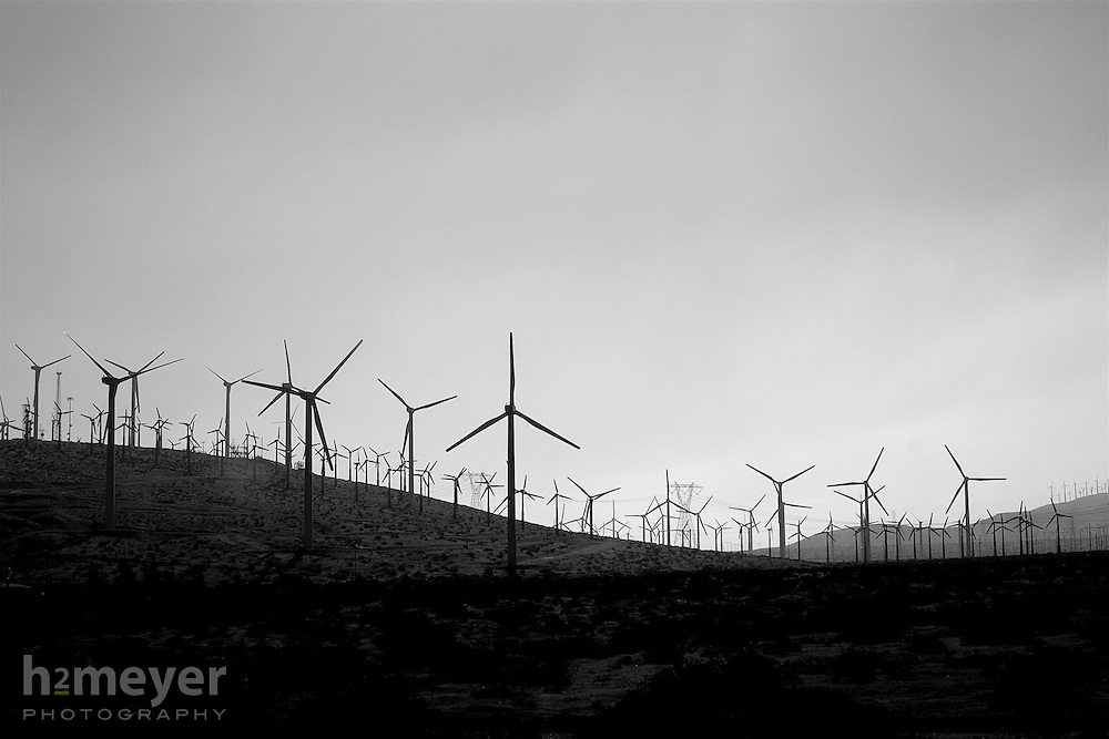 Sand and wind howls through the San Gorgonio Pass Wind Farm between the San Bernardino Mountains on the north and the San Jacinto Mountains to the south and links the Los Angeles basin to the Coachella Valley.  One of the windiest places in southern California, the San Gorgonio Wind Farm, as of January 2008, consists of 3218 turbines generating over 615 megawatts of power.