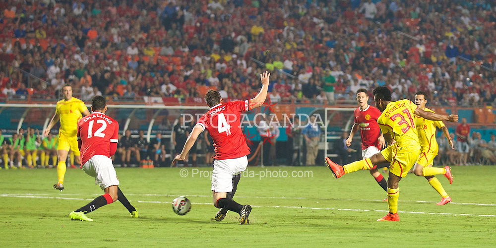 MIAMI, USA - Monday, August 4, 2014: Liverpool's Raheem Sterling in action against Manchester United during the International Champions Cup Final match at the SunLife Stadium on day fifteen of the club's USA Tour. (Pic by David Rawcliffe/Propaganda)