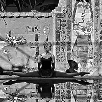 Ballerina from the  Maria de Avila¥s Cuban National Ballet dancing at the studio of famous Cuban painter and sculptor Jose Fuster (Image is MR and PR)
