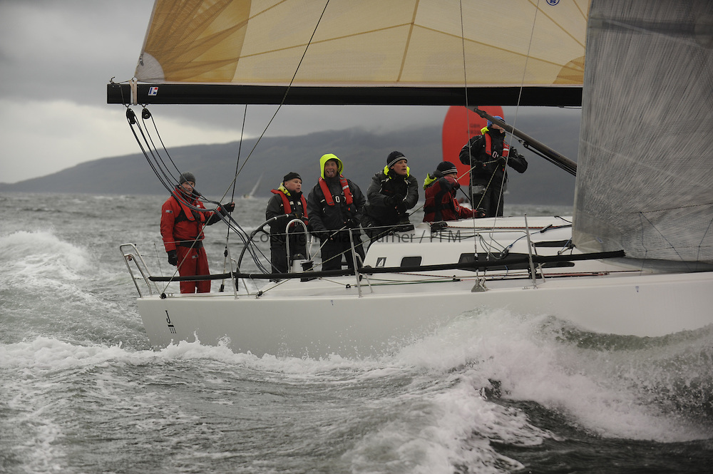 The Clyde Cruising Club's Scottish Series held on Loch Fyne by Tarbert. <br /> Day 4 Racing with a wet Southerly to start clearing up for the last race.<br /> <br /> GBR8611R, Jacob, John Stomp, PEYC, J111.