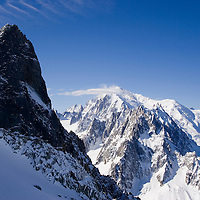 Mont Blanc from the top of the Grand Montets ski area, Chamonix, France.