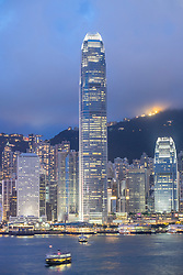 Dusk skyline of skyscrapers in Hong Kong from Kowloon on a clear day