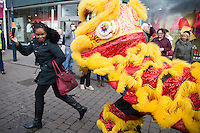 @Licensed to London News Pictures 28/01/2017. Maidstone, Kent. Today performers celebrate the Chinese New Year in Jubilee Sq, Maidstone, Kent. This year the parade celebrates the Year of the Rooster. The Rooster is 10th in the Chinese zodiac, with each year related to an animal sign according to a 12-year cycle. Photo credit: Manu Palomeque/LNP