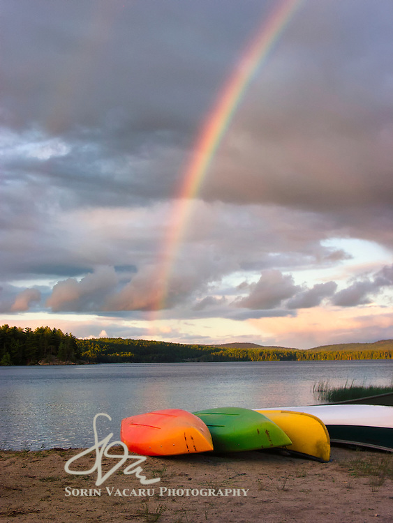 Brilliant Rainbow Over Rock Lake at Sunset