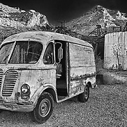 Vintage Metro Van At Sunset - Eldorado Canyon Techatticup Mine - Nelson NV - HDR -  Infrared Black & White