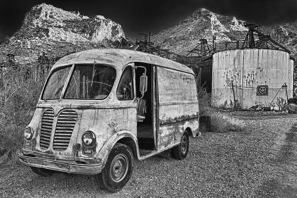Vintage Metro Van At Sunset - Eldorado Canyon Techatticup Mine - Nelson NV - HDR -  Infrared Black & White
