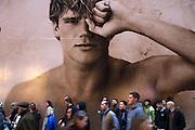 New York City Manhattan USA Fifth Avenue Hollister Werbung..Fifth Avenue, 5th ave, Manhattan, shopping, Einkauf, Konsum, Strassenszene, Wirtschaft, Handel, economy, shops, consumer, money, Passanten, people, advertising, man