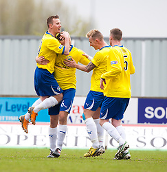 Morton's Mark McLaughlin celebrates after scoring their first goal..half time : Falkirk 0 v 1 Morton, 4/5/2013..© Michael Schofield..