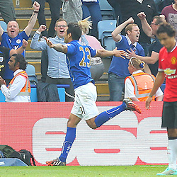 Leicester City's Leonardo Ulloa celebrates his goal during the Barclays Premiership match between Leicester City FC and Manchester United FC, at the King Power Stadium, Leicester, 21st September 2014 © Phil Duncan | SportPix.org.uk