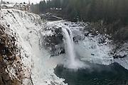 WA09423-00...WASHINGTON - Frozen Snoqualmie Falls on the Snoqualmie River near the town of Snoqualmie.