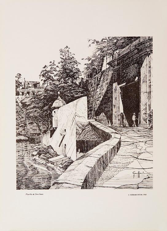 Cat.#18 - Lithographic print of Pen and Ink drawing of the entrance to the old city of San Juan seen seen from the ramp that leads up to the main gate of the city. This print is part of a set of three views of the city's entrance printed on pebbled, heavy weight stock.<br /> Paper size is 11 x 15&quot;. Image size is approximately 9 x 10&quot; <br /> Cat. #18 - Impresi&oacute;n litogr&aacute;fica de un dibujo a plumilla de la entrada a la antigua ciudad de San Juan vista desde la rampa que lleva a la puerta principal. Esta impresi&oacute;n es parte de un conjunto de tres vistas de la entrada a la ciudad. Impreso en papel pesado y textura liviana.<br /> Tama&ntilde;o del papel es11 x 15&quot;. Tama&ntilde;o de la imagen es aproximadamente 9 X 10&quot;