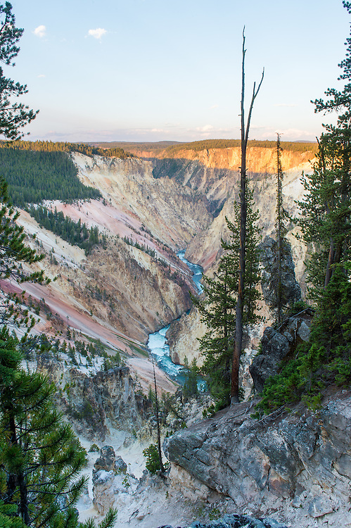Looking over the Yellowstone River from Inspiration Point. <br /> <br /> I learned last year while in Utah that sunsets are difficult in canyons, because depending on the direction they can be covered by a shadow with a harsh line. <br /> <br /> While it would have been nice to get the golden hour light in the entire canyon, I liked the way it accents the top yellow portion. The yellow color of these canyon walls is where the park got the name &quot;Yellowstone&quot;.