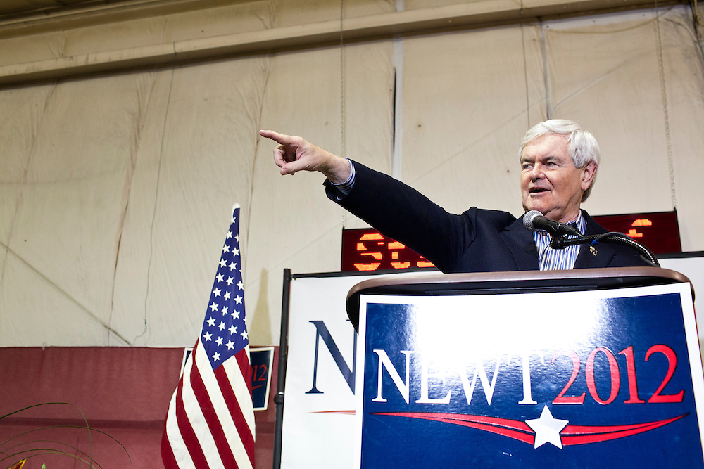 Republican presidential candidate Newt Gingrich holds a rally at his campaign office on Monday, January 2, 2012 in Davenport, IA.